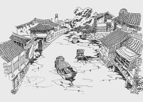 古镇河道风景速写的画法步骤