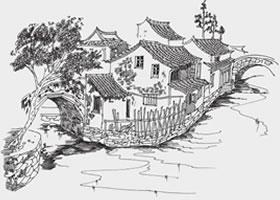 江南民居风景速写的画法步骤