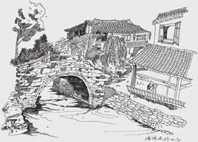 乌镇小景风景速写的画法步骤