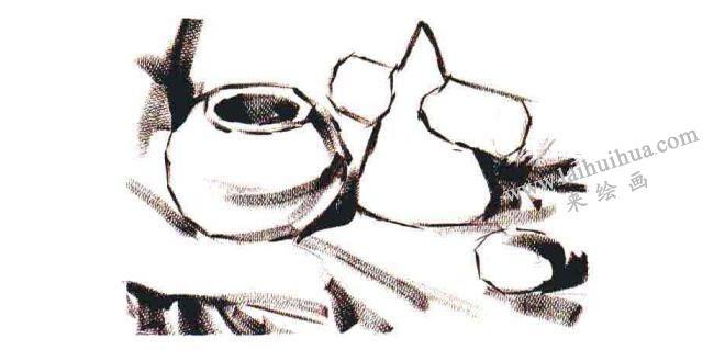 三个物体的组合水粉画法步骤