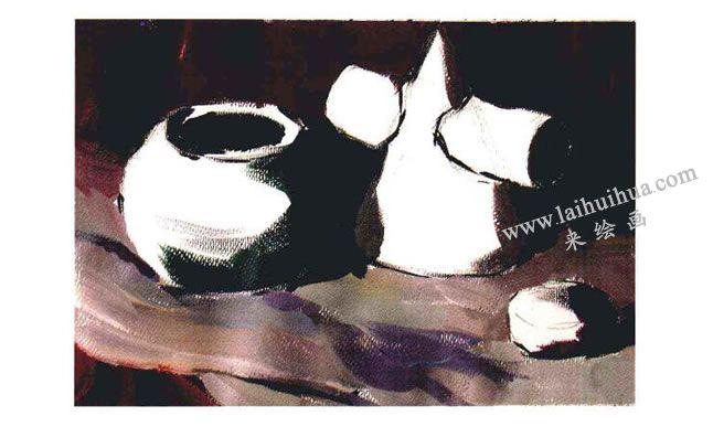 三个物体的组合水粉画法步骤03