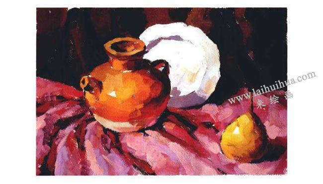 陶罐、瓷盘和梨子组合水粉画法步骤04