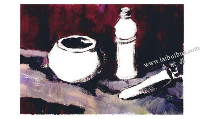 陶罐、饮料瓶和胡萝卜组合水粉画法步骤03