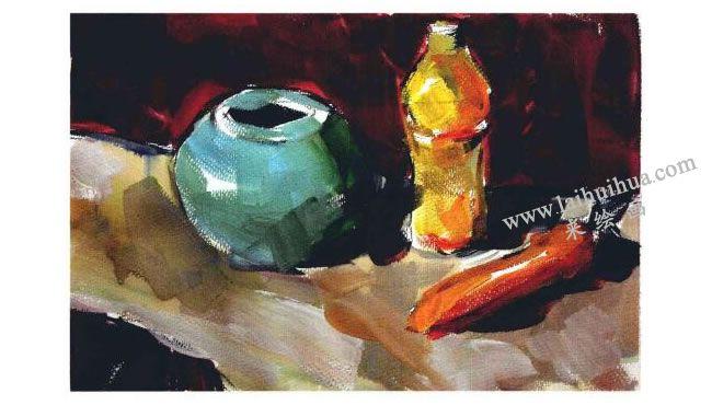 陶罐、饮料瓶和胡萝卜组合水粉画法步骤04