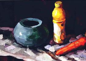 三个物体的组合水粉画法步骤(四)