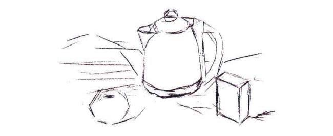 不锈钢电水壶、水果和牛奶盒组合水粉画法步骤01
