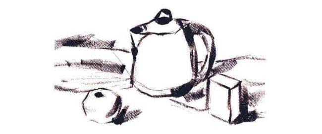 不锈钢电水壶、水果和牛奶盒组合水粉画法步骤02