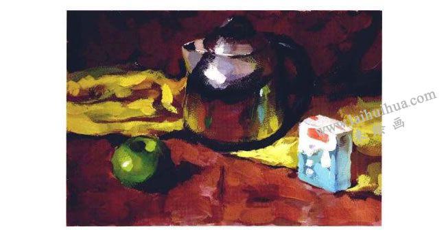 不锈钢电水壶、水果和牛奶盒组合水粉画法步骤04
