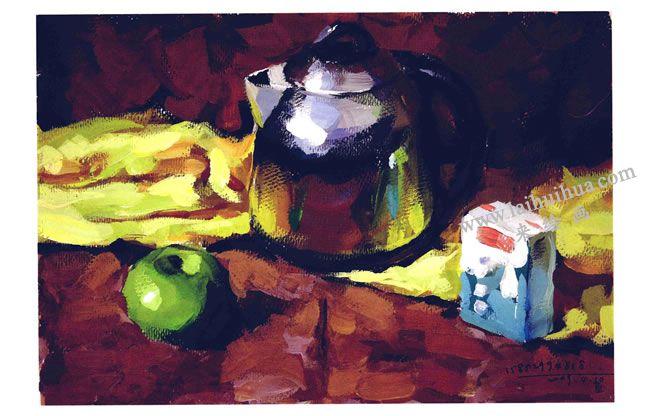 不锈钢电水壶、水果和牛奶盒组合水粉画法步骤05