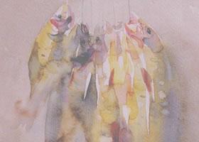 静物《鱼》水彩画法步骤