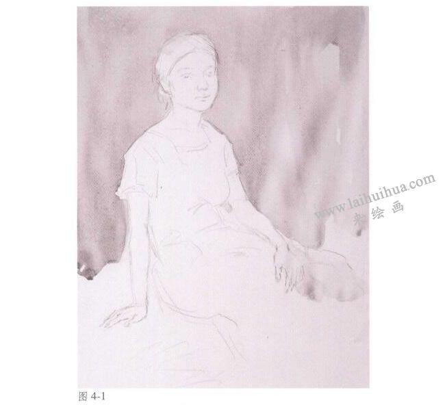 人物《女青年半身像》水彩画法步骤01
