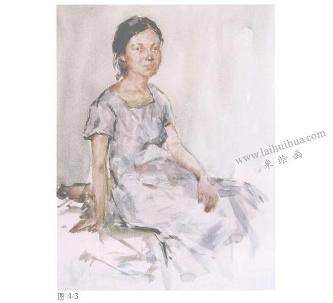 人物《女青年半身像》水彩画法步骤03