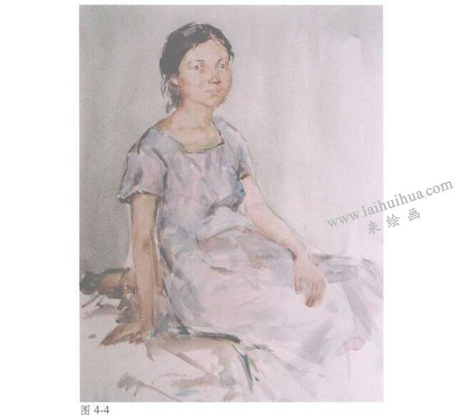 人物《女青年半身像》水彩画法步骤04