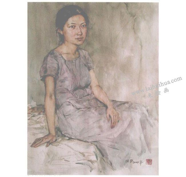 人物《女青年半身像》水彩画