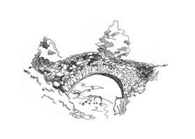 木桥的速写画法和石桥的速写画法