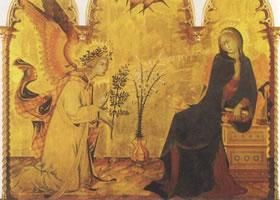 西莫尼•马尔蒂尼《天使与圣母领报》木板蛋彩