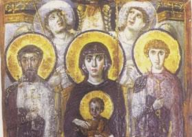 圣像画《圣狄奥多尔和圣乔治在侧的宝座上的圣母子》