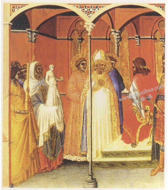 彼得罗•罗伦采蒂《圣萨比纳斯晋见总督》名画
