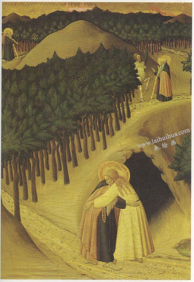 萨塞塔《圣安东尼和圣保罗的会见》名画