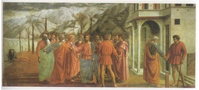 马萨乔《纳税钱》湿壁画