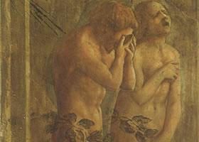 马萨乔《被逐出乐园的亚当和夏娃》湿壁画