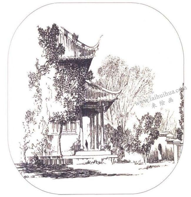 《武夷山中山堂》建筑素描作品