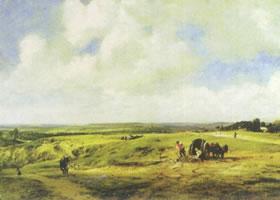 约翰•康斯太勃尔《汉福斯戴特的荒地》名画