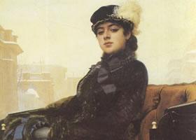 克拉姆斯柯依《无名女郎》名画