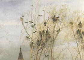 萨甫拉索夫《白嘴鸦飞来了》名画