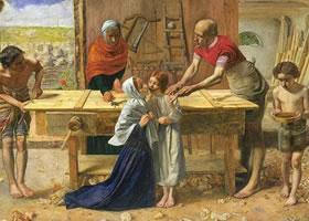 约翰•埃•米莱《基督在父母家中》名画