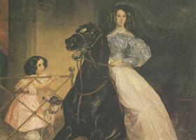 勃留洛夫《骑马的女子》名画