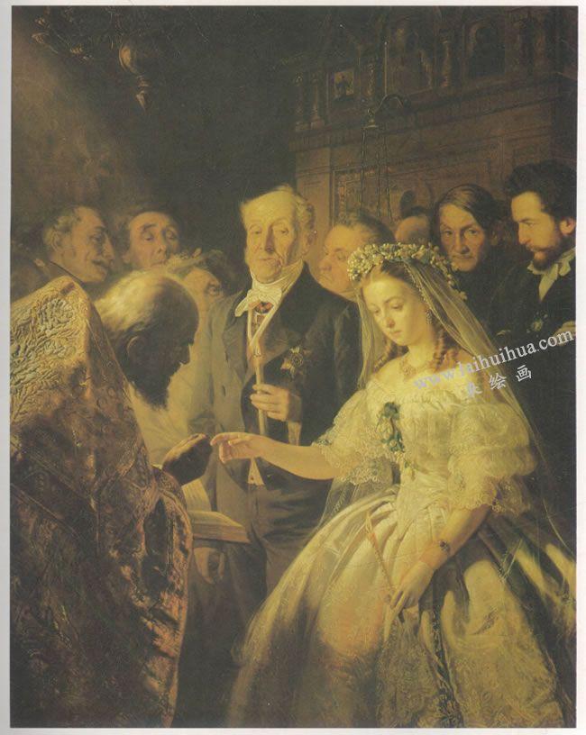 普基寥夫《不相称的婚姻》名画