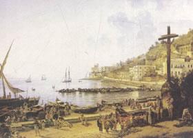 谢德林《那不勒斯港的马格林堤岸》名画