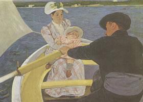 玛丽•卡萨特《舟游》(《划船的伙伴》)名画