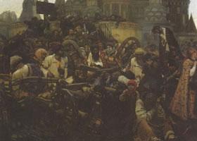 苏里柯夫《近卫军临刑的早晨》名画