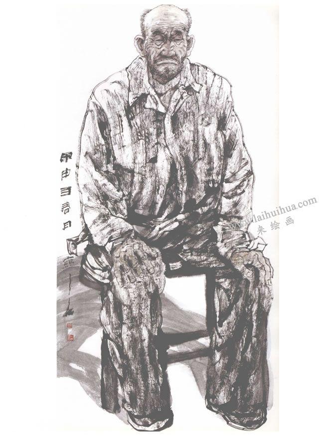 老工人写意人物画