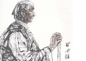 持杖的老太太写意人物画