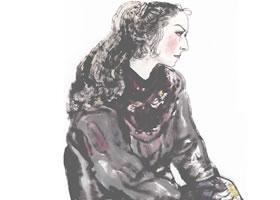 维吾尔族少女写意人物画