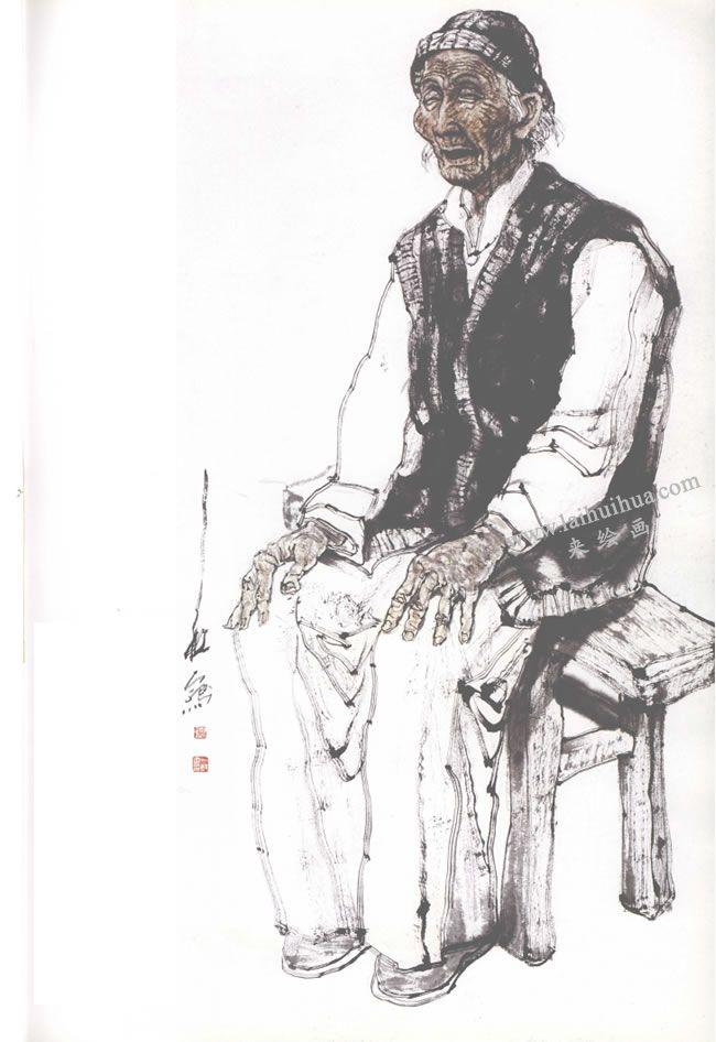 渭北老太太写意人物画
