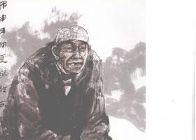 陕北老太太写意人物画