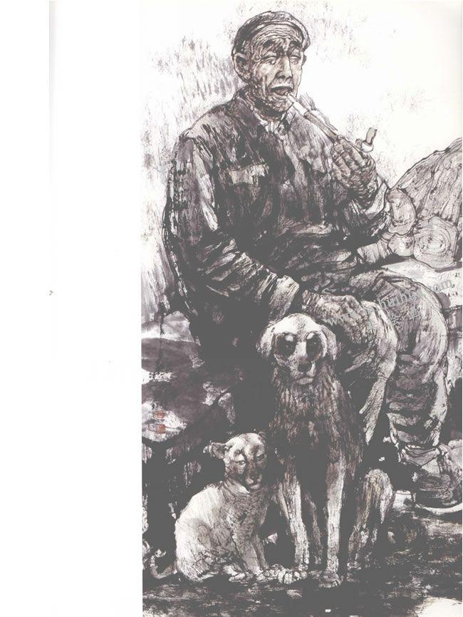 老人与狗写意人物画