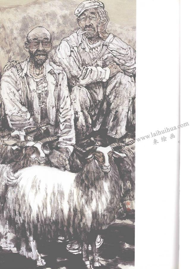 羊群与农人写意人物画