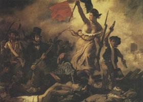 欧仁•德拉克洛瓦《自由女神引导着人民》名画