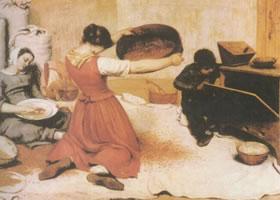 居斯塔夫•库尔贝《筛麦的女子》名画