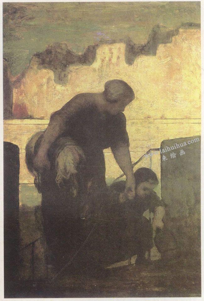 奥诺雷•杜米埃《带孩子的洗衣妇》名画