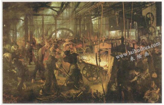 阿道夫•门采尔《轧钢厂》名画