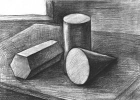 三个几何体组合素描实例(一)
