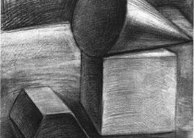 三个几何体组合素描实例(二)