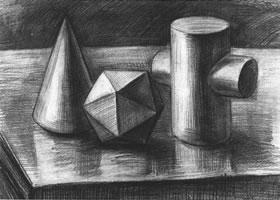 三个几何体组合素描实例(三)