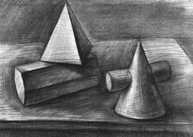 三个几何体组合素描实例(四)
